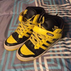 Black and Yellow Hightop Adidas